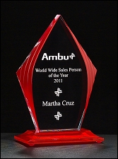 Flame Series Acrylic Award with Red Accents - 3 Sizes