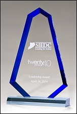 Flame Series Blue Acrylic Award with Blue Accents - 3 Sizes