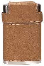 7 oz Leather Flask with Lid and 3 Shot Glasses
