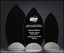 Flame Series Glass Award with Gunmetal Finish Base - 3 Sizes