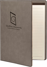 9-1/2 x 12 Gray/Black Leatherette Portfolio