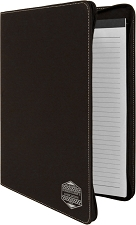 9-1/2 x 12 Black/Silver Leatherette Portfolio with Zipper