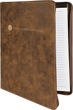 9-1/2 x 12 Rustic/Gold Leatherette Portfolio with Zipper
