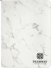 9-1/2 x 12 White Marble/Black Leatherette Portfolio with Zipper
