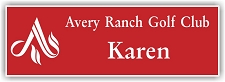 Red/White 2-Color Laser Engraved Plastic Name Badge with Logo