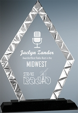 Diamond Accented Glass Award - 2 Sizes
