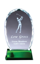 3D Crystal Oval Golf Award - $71 - $79 - $91 (Includes Engraving)