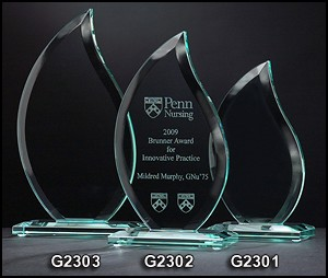 Flame Series Glass Award - 3 Sizes