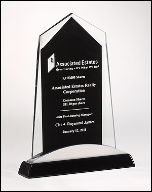 Apex Series Glass Award with Black Piano Finish Base - 3 Sizes