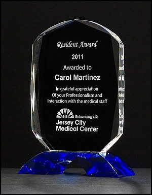 Diamond Series Clear Crystal Award with Cobalt Blue Crystal Base - 3 Sizes