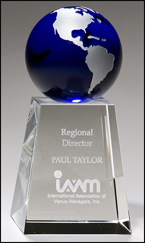 Crystal Award with Blue Globe - 5.25""