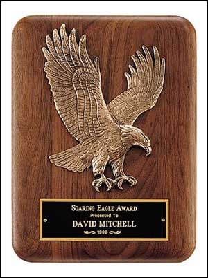 Solid American Walnut Plaque with Eagle Casting - 2 Sizes