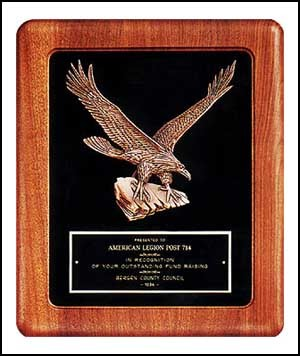 Solid American Walnut Plaque with Eagle Casting & Velour Background - 14