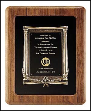 Solid American Walnut Plaque with Antique Bronze Prestige Casting & Velour Background - 14