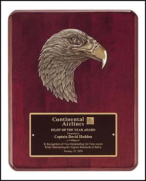 Rosewood Piano Finish Plaque with Eagle Casting - 2 Sizes