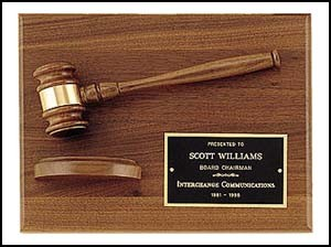 Solid American Walnut Gavel Plaque with Block - 9