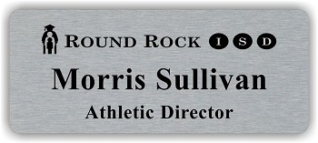 Silver/Black Metal Name Badge with Logo